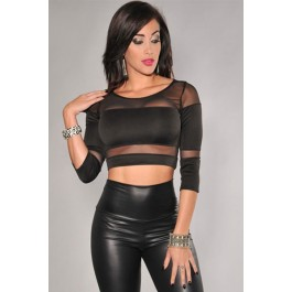 black-mesh-3-4-sleeves-cropped-party-club-top-lc25153