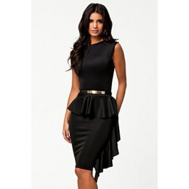 black-one-side-draped-stylish-peplum-dress-lc21158