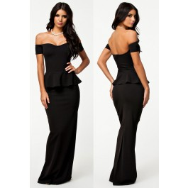 black-peplum-maxi-dress-with-drop-shoulder-lc6244