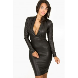 black-plunging-v-neck-long-sleeve-leather-dress-lc9196-1