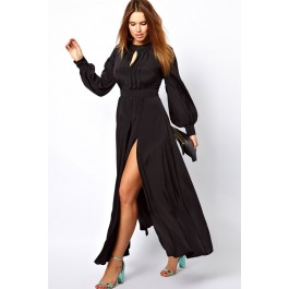 black-plus-size-frilled-maxi-dress-with-bell-sleeves-lc6209p-2