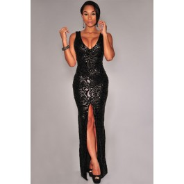 black-sequined-front-slit-padded-maxi-gown-lc6907-2