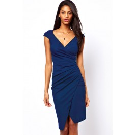 blue-ruched-wrap-midi-dress-lc6181-1