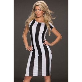 classic-black-white-vertical-stripes-midi-dress-lc6388