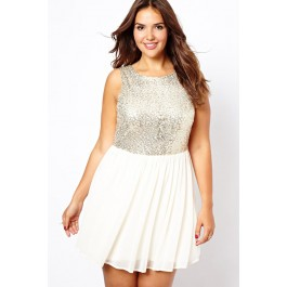 king-size-sequin-top-chiffon-skater-dress-lc2990p