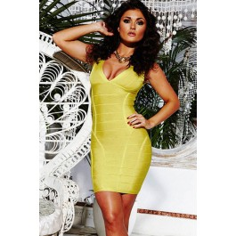 lime-v-neck-ribbed-party-bandage-dress-lc28053