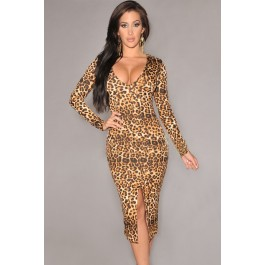 long-sleeve-leopard-midi-dress-with-front-slit-lc6679
