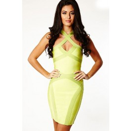 neon-green-keyhole-womens-bandage-dress-lc28068