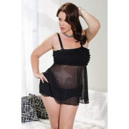plus-size-black-tickled-ruffle-babydoll-set-lc22134-2p