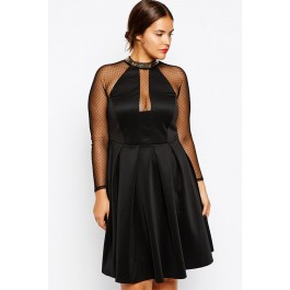 plus-size-skater-dress-with-chain-trim-lc6987