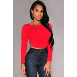 red-arched-back-long-sleeves-crop-top-lc25696-3