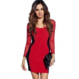 red-black-hourglass-mesh-long-sleeves-bodycon-dress-lc2970-3
