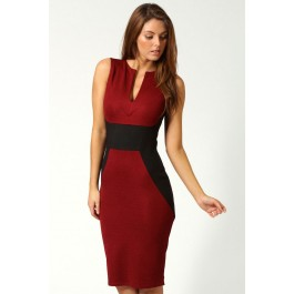red-contrast-panel-midi-bodycon-dress-lc6165-2