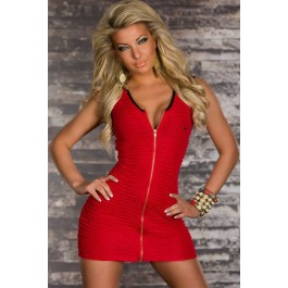 red-stretch-mini-dress-with-continuous-zip-lc2956-3