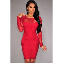 red_lace_nude_illusion_long_sleeves_bodycon_dress