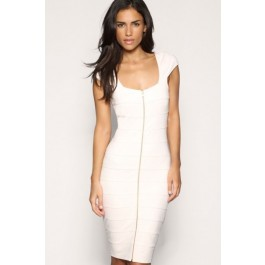 white-square-neck-front-back-full-length-zip-bandage-dress-lc28050-1