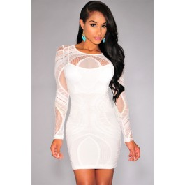 white_lace_nude_illusion_long_sleeves_bodycon_dress